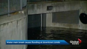 Water main break floods underground condo