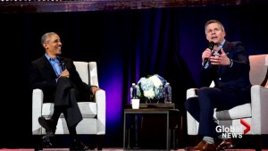 Former U.S. president Barack Obama receives rock star welcome in Calgary