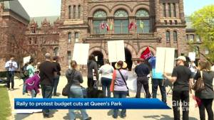Around 30 protest provincial budget cuts at Queen's Park