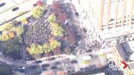 Aerial footage shows thousands of Google employees staging walkout in New York