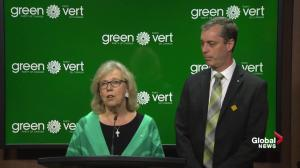 Elizabeth May welcomes new Green Party MP Paul Manly to Ottawa