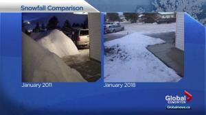 Photo highlights drastic difference in Edmonton snowfall