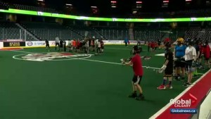 Free lacrosse clinic offers Calgary youth a chance to learn from Roughnecks