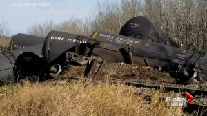 Train derails north of Edmonton