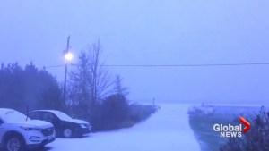 Lightning lights up snowy skies as winter storm hits Ottawa