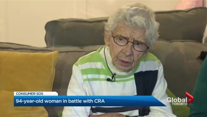 'It's harassment': 94-year-old Ontario woman in battle with Canada Revenue Agency