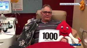 Edmonton man makes 1000th blood donation