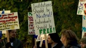 Westmount teachers protest CAQ religious symbols ban