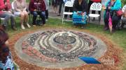 Play video: Mosaic monument unveiled at Millennium Park in Peterborough