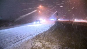Raw video: Highway 401 hit with snow, ice pellets
