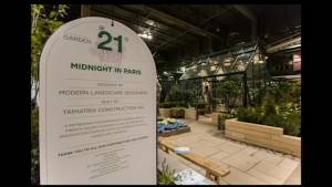 "Canada Blooms 2018  ""Judge's Choice""  goes to   local garden designer for ""Midnight in Paris""  design (05:40)"