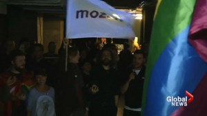 Gay rights supporters celebrate failure of vote on same sex marriage ban