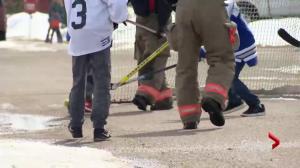 People around Saskatchewan play street hockey for Humboldt Broncos