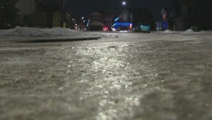 Edmonton road is so icy people are skating on it