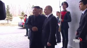 Vladimir Putin, Kim Jong Un greet each other to begin historic talks