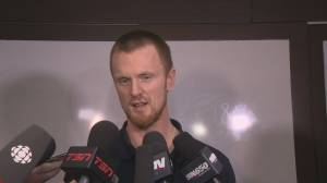 Daniel and Henrik Sedin speak to press ahead of last Canucks home game