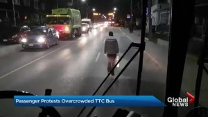 TTC passenger protests by walking in front of bus, blocking traffic in west Toronto neighbourhood