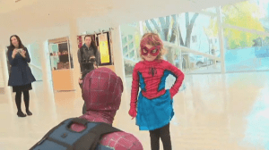 SpiderMable arrives at Edmonton City Hall for her first mission