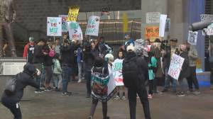 Two rallies outside Rogers Arena before NBA game