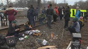 Wet'suwet'en solidarity rail blockade set up on Toronto tracks