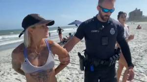 Police handcuff woman for wearing thong at Myrtle Beach