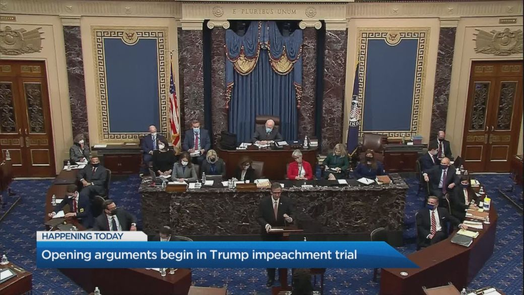 Click to play video 'Opening arguments begin in Trump impeachment trial'