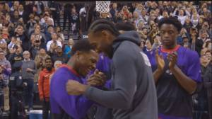 Kawhi Leonard receives championship ring and standing ovation in return to Toronto