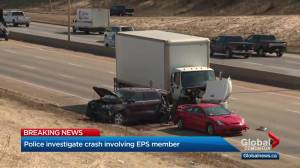 Collision involving Edmonton police member shuts down part of Whitemud Drive (00:33)