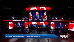 Premier Jason Kenney promotes Alberta during NHL game in hopes of boosting tourism, economic spin-off