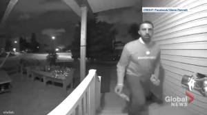 Video shows Calgary Skyview Liberal George Chahal removing rival campaign flyer (00:29)