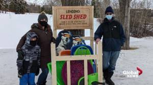 Father and daughter create 'Lending Sled Shed' for Edmonton community (01:36)