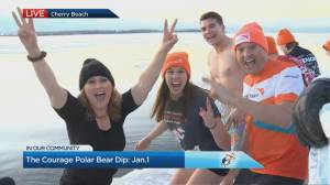 Watch Jennifer Valentyne take the Polar Bear Dip