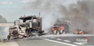 Transport truck crashes, erupts into flames on Hwy. 401 in Colborne (01:01)