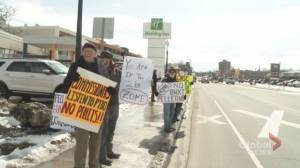 Protesters greet BWXT licence renewal hearing in Peterborough