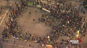 Aerial footage of B.C. pipeline protesters blocking East Vancouver intersection
