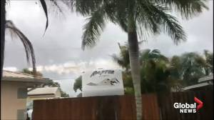 Sparks fly off power lines after Hurricane Dorian moves past Florida