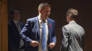 Andrew Scheer survives caucus challenge on leadership (02:03)