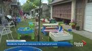 Play video: Coronavirus: Toronto residents transform laneway into backyard oasis