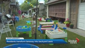 Coronavirus: Toronto residents transform laneway into backyard oasis