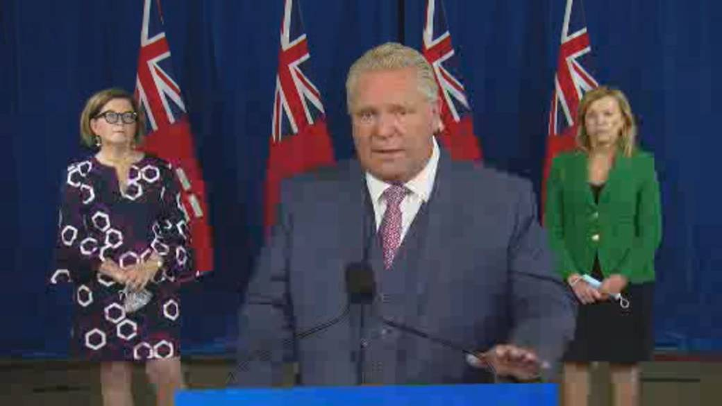 Click to play video 'Coronavirus: Ontario Premier Ford responds to Trudeau comments on testing, says 'province kicking everyone's butts''