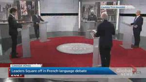 Canada election: Federal party leaders square off in 1st French-language debate (02:12)