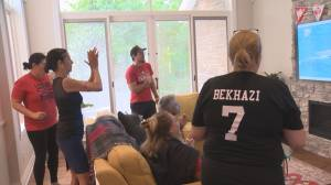 Family and friends cheer on Canada and local Pointe-Claire native, Joelle Bekhazi (02:03)