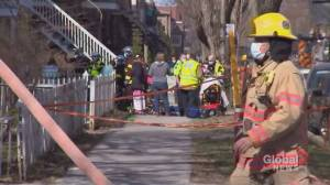 1 dead, 7 in hospital after five-alarm fire sweeps through Montreal apartment building housing low-income seniors (02:09)