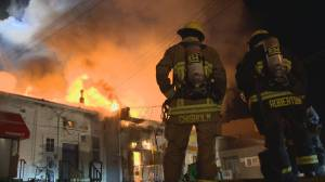 Five Vancouver businesses destroyed by huge fire on Cambie Street (02:19)