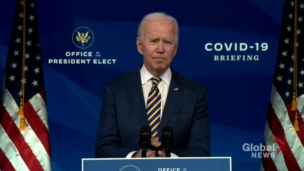 Click to play video 'Coronavirus: Biden says 'very tough' times to come amid 2nd wave, but optimistic for U.S. future'
