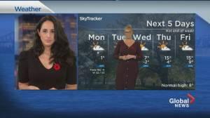 Global News Morning weather forecast: Monday, November 2, 2020 (01:39)