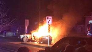 A fiery crash on a Kingston street caused by a runway pickup truck
