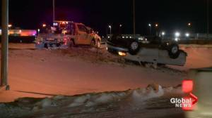 Blizzard leaves icy mess across Saskatchewan highways, power outages in communities (01:51)
