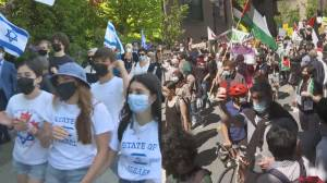 Supporters of Israel and Palestine take to Vancouver's streets amid escalating Middle East violence (02:15)