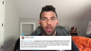 Bubba Wallace responds to Trump's 'hoax' tweet (00:46)